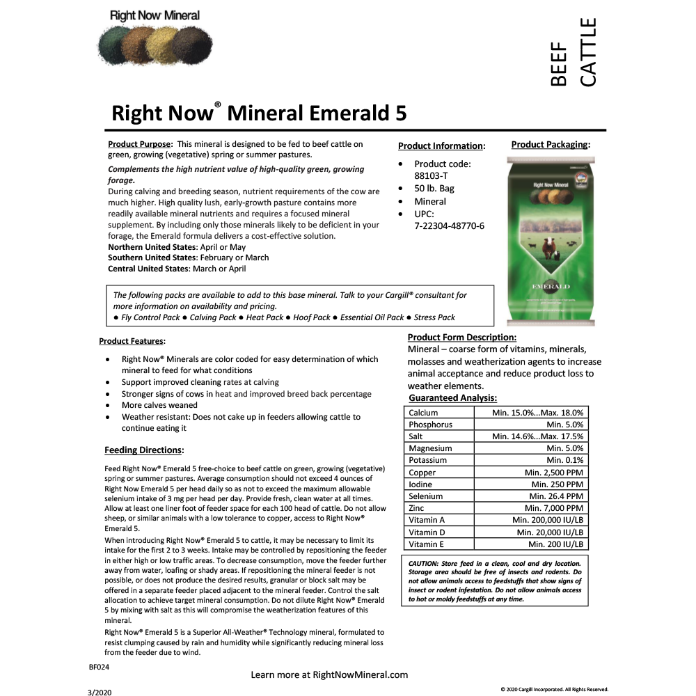Right Now Mineral Emerald Supplement 50-Lbs