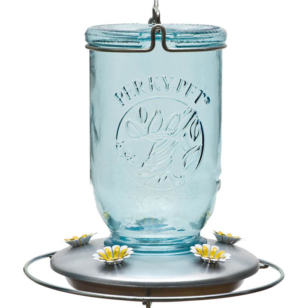 Perky-Pet Mason Jar Glass Hummingbird Feeder
