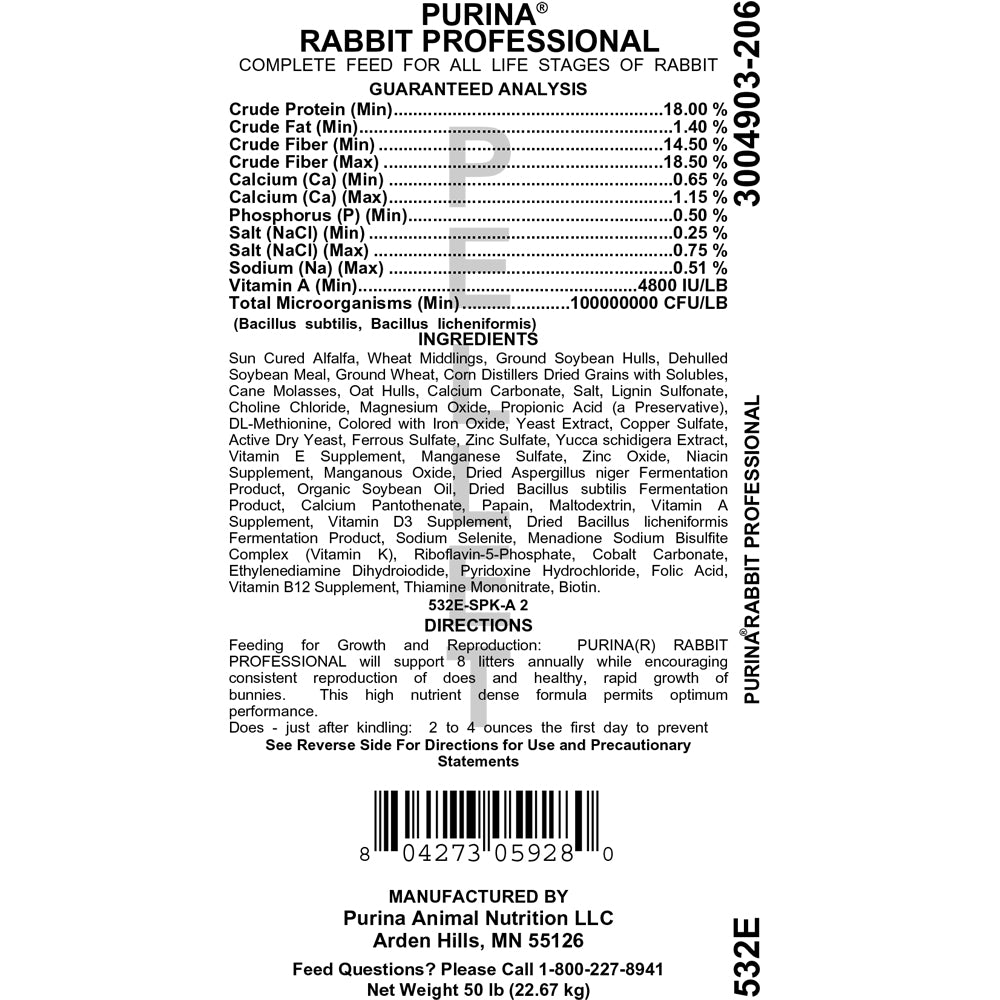 Purina Professional Rabbit Feed 50-Lbs
