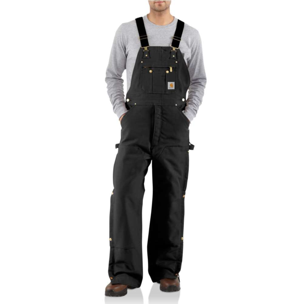 30x32 Lined Zip-To-Thigh Bib Overalls Black