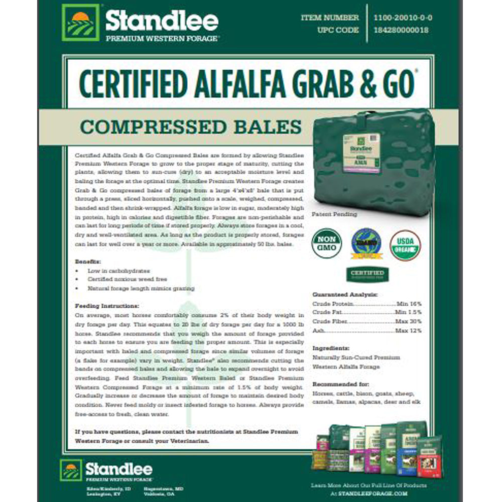 Standlee Premium Certified Alfalfa Grab And Go Bale