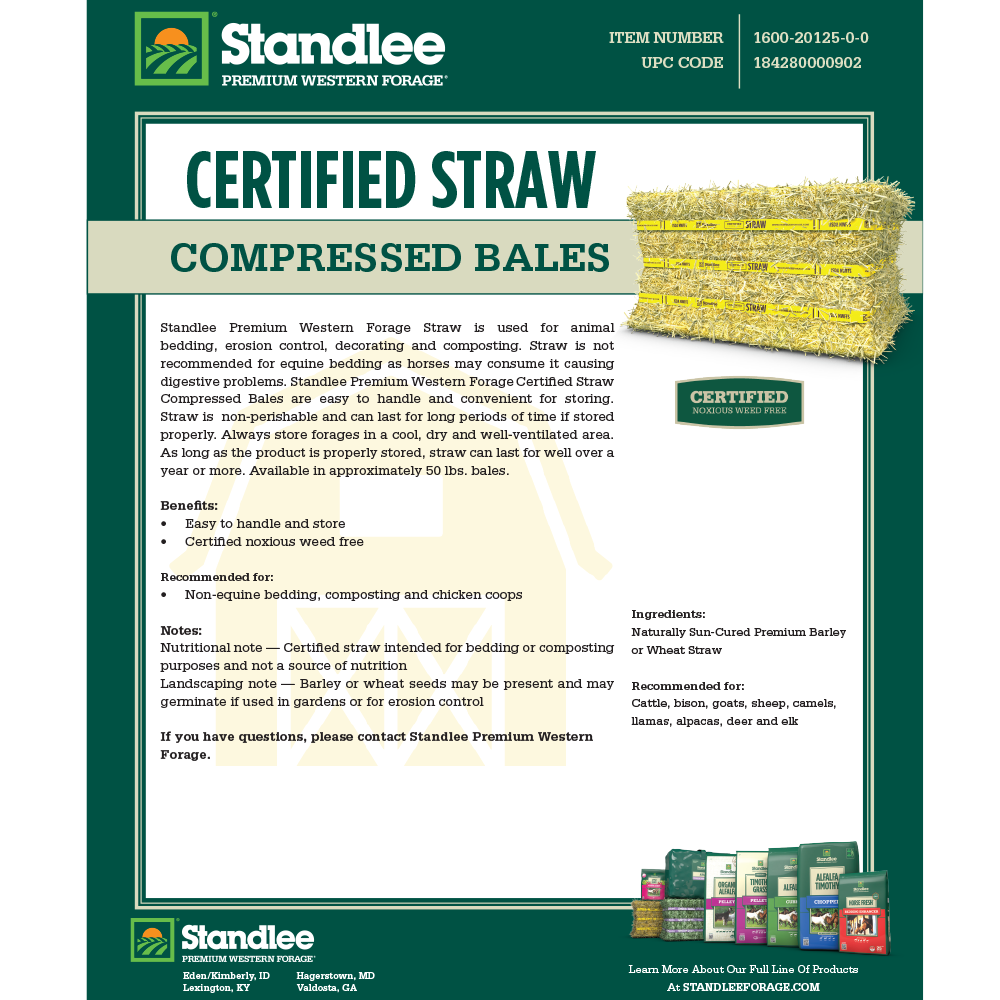 Standlee Certified Straw Compressed Bale