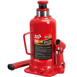 Big Red 20-Ton Hydraulic Welded Bottle Jack Red