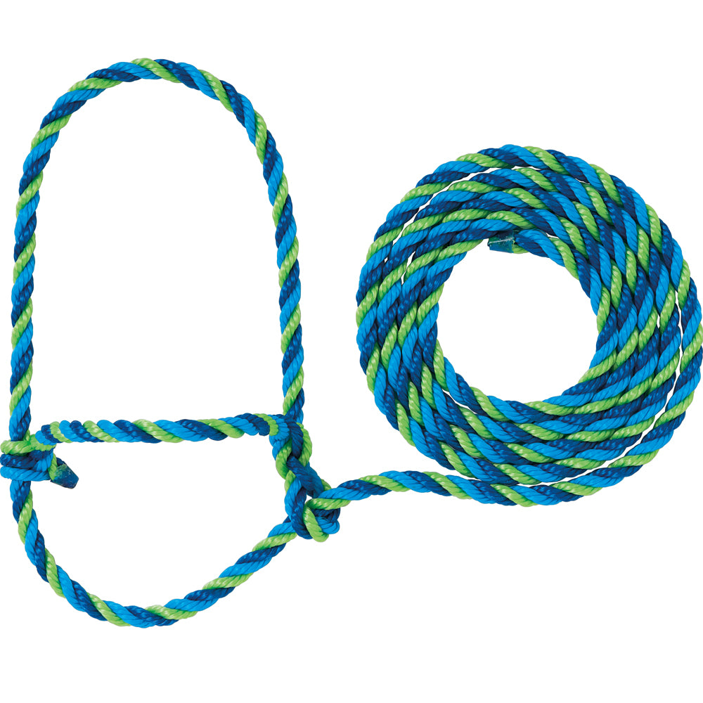 Weaver Leather Cow Rope Halter Blue, Hurricane Blue, And Lime Zest
