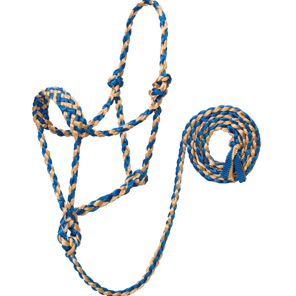 Weaver Leather Braided Rope Halter With 10-Foot Lead Blue And Tan