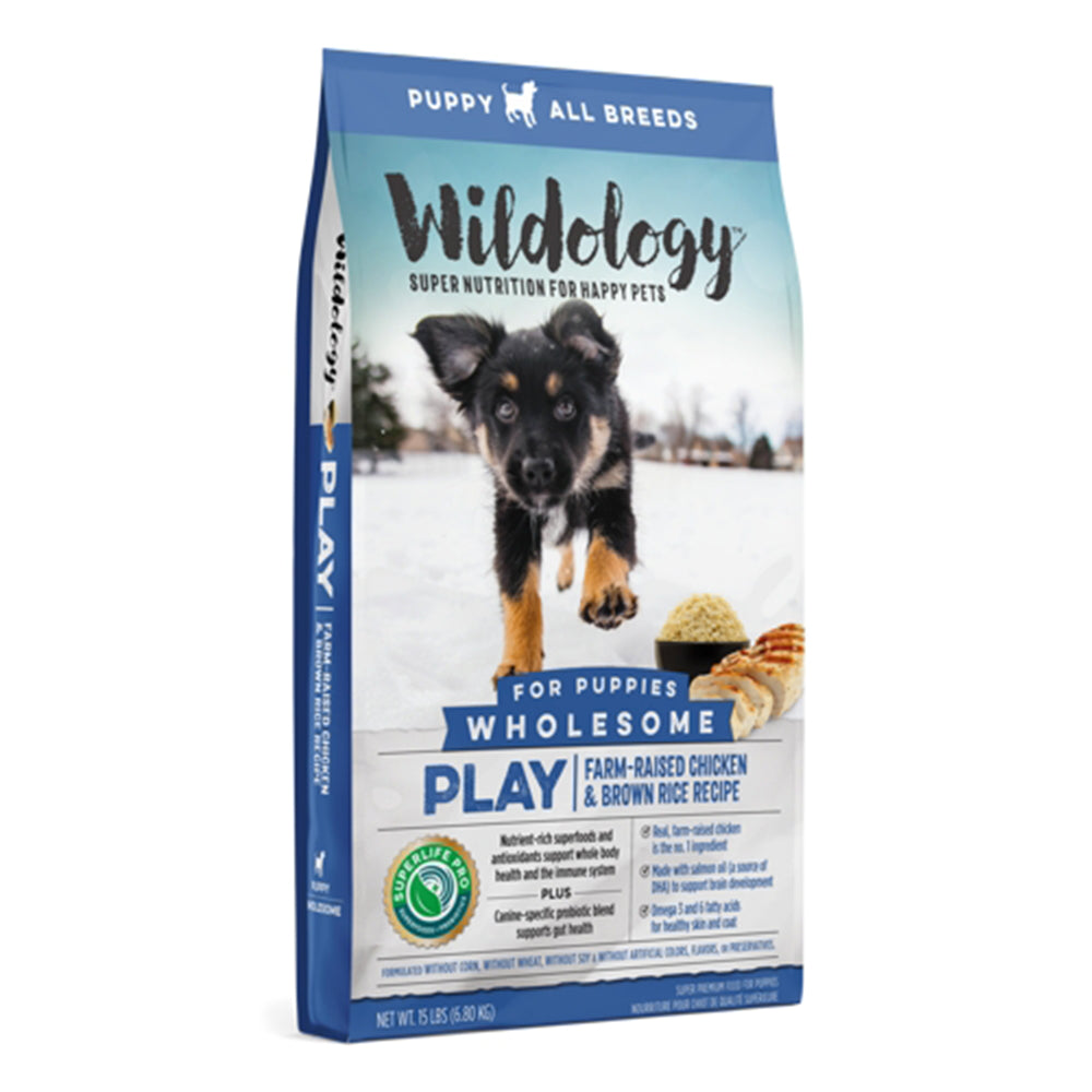 Wildology Play Farm-Raised Chicken And Brown Rice Puppy Food Recipe 15-Lb