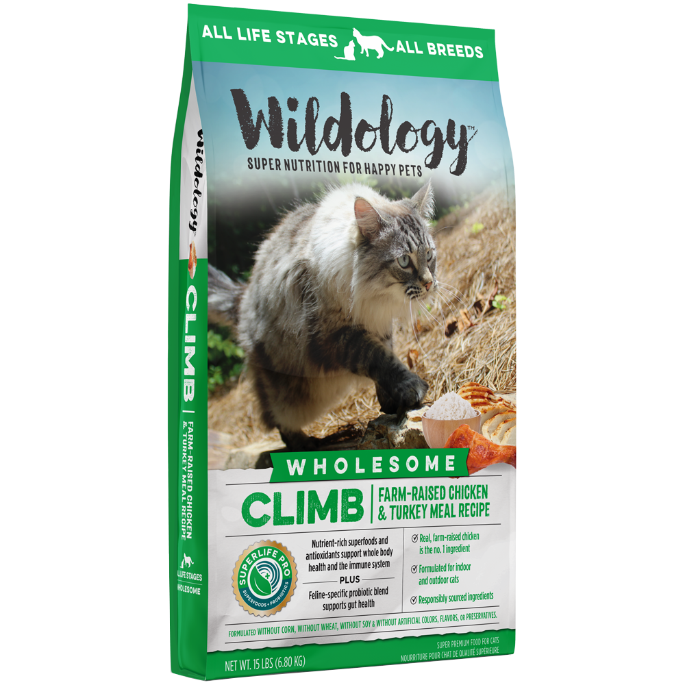 Wildology Climb Farm-Raised Chicken And Turkey Meal Cat Food Recipe 15-Lb