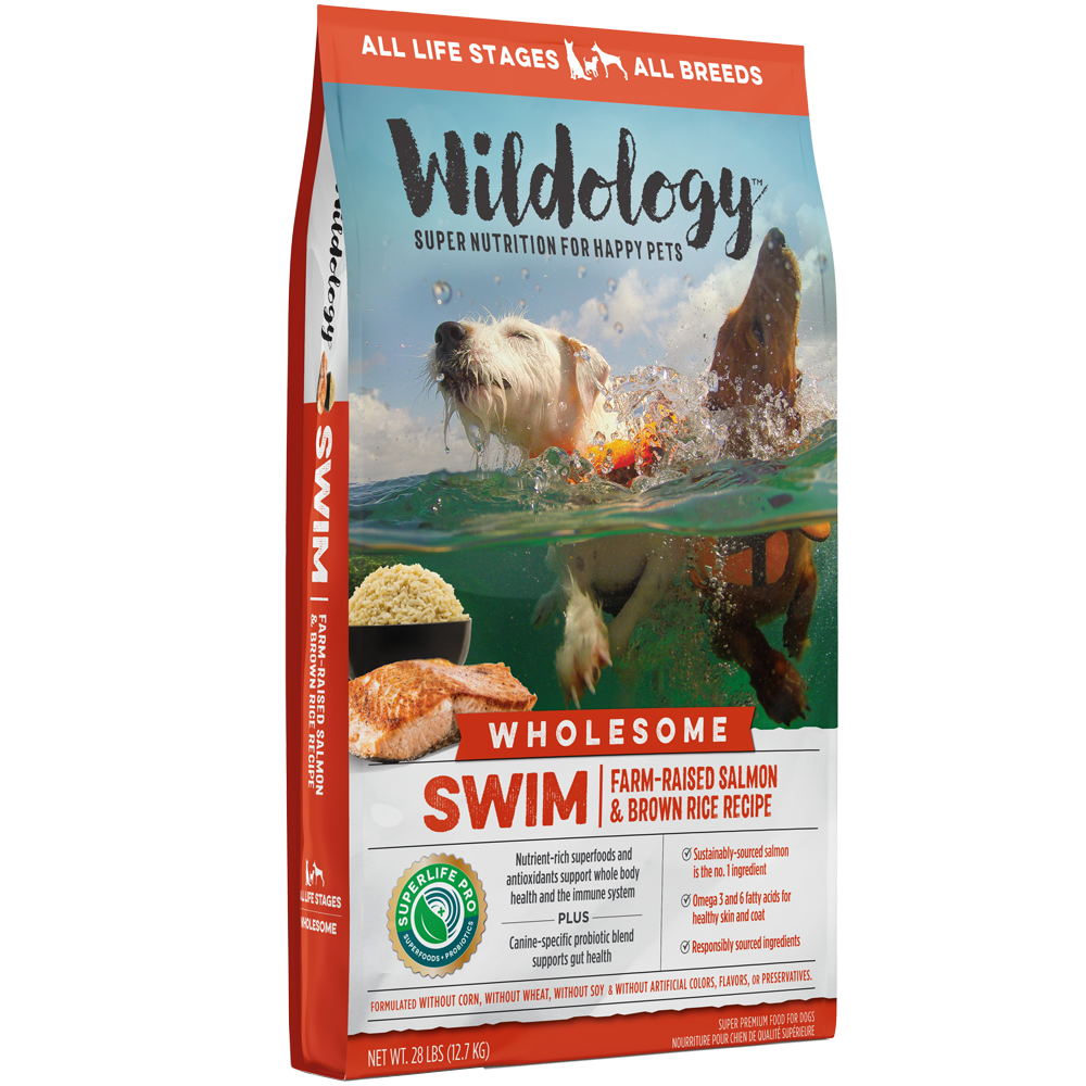 Wildology Swim Farm-Raised Salmon And Brown Rice Dog Food Recipe 28-Lb
