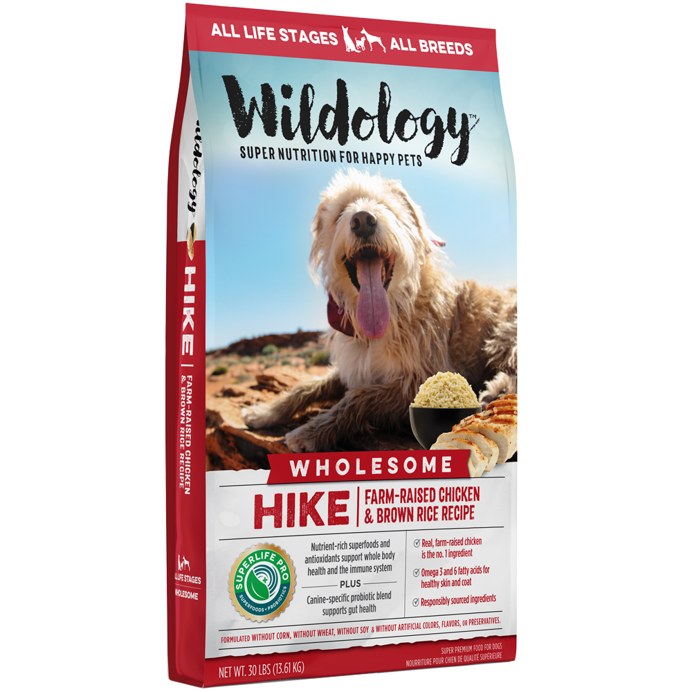 Wildology Hike Farm-Raised Chicken And Brown Rice Dog Food Recipe 30-Lb