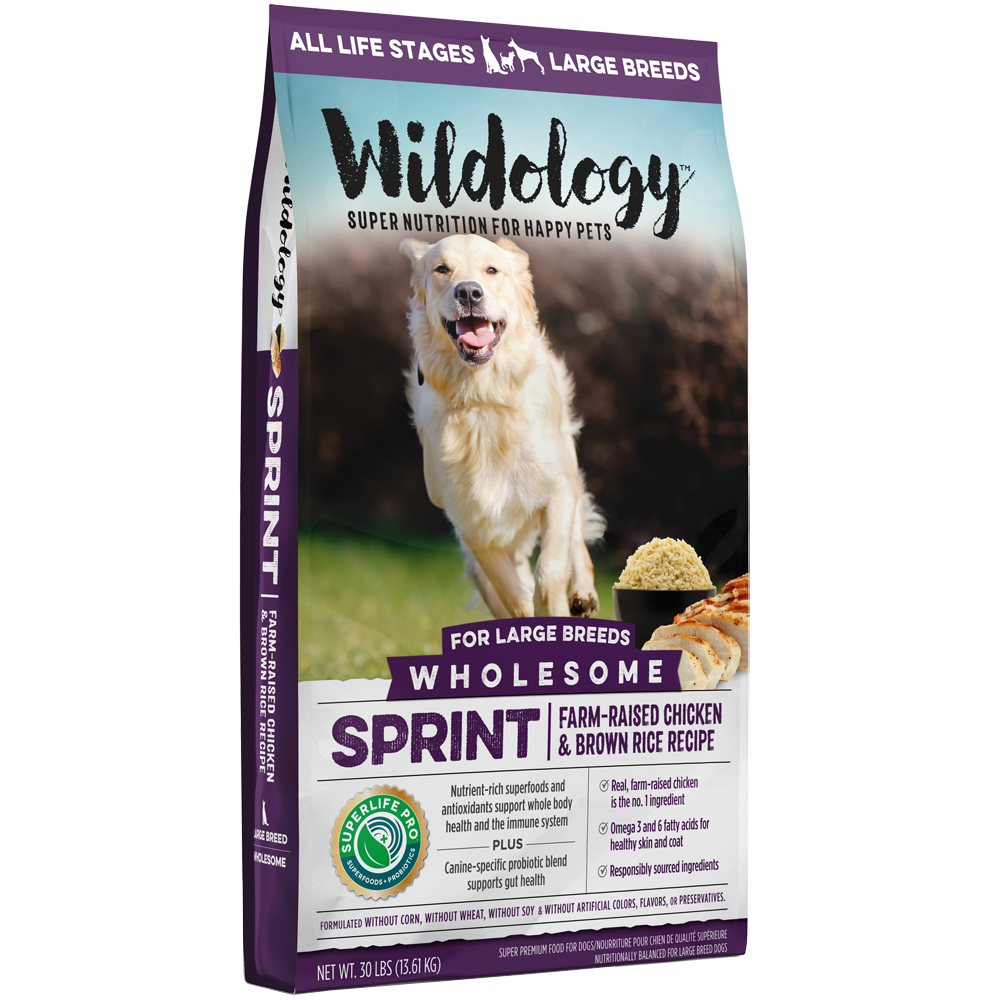 Wildology Sprint Farm-Raised Chicken And Brown Rice Dog Food Recipe 30-Lb