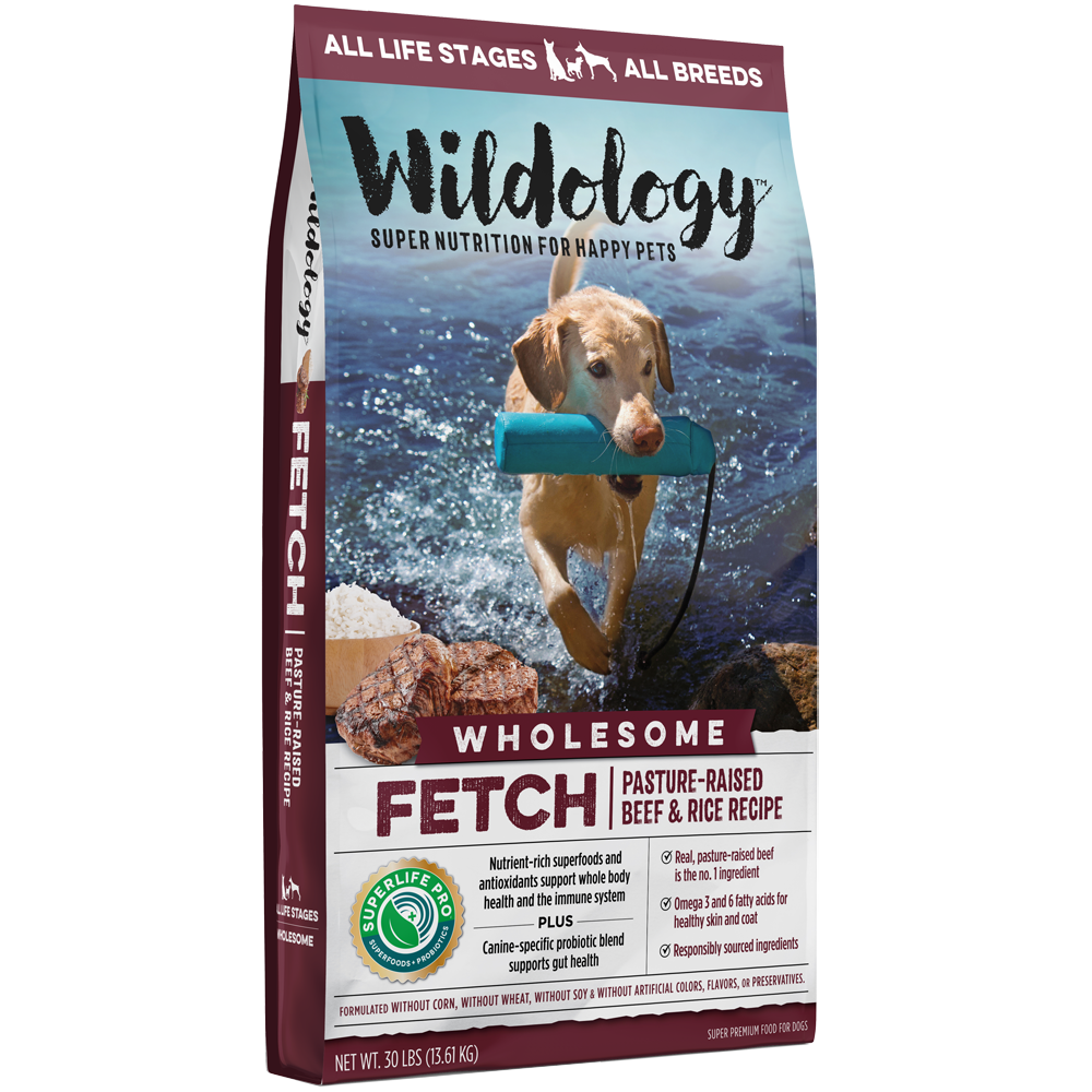 Wildology Fetch Pasture-Raised Beef And Rice Dog Food Recipe 30-Lb