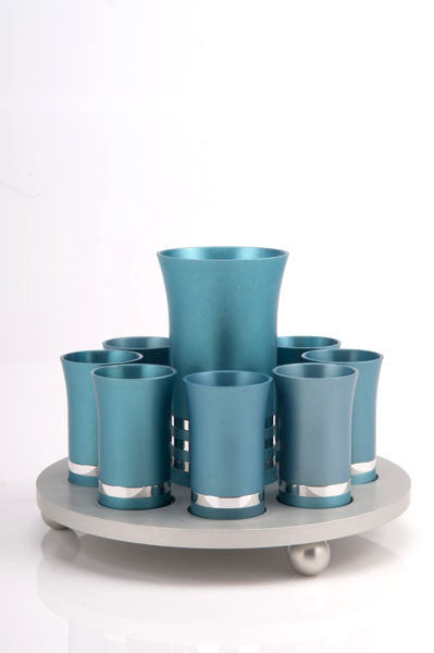 KIDUSH SET FOR 8 - KIDDUSH-SET004 - Agayof Judaica