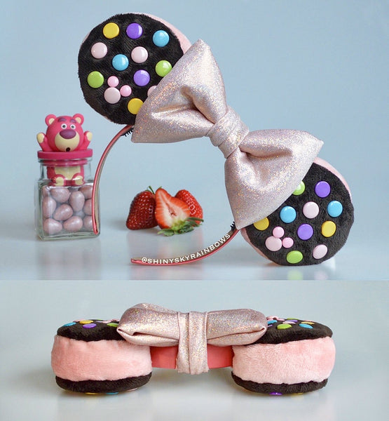 Strawberry Ice Cream Sandwich Ears, Double Chocolate (buttons) Cookie Sandwich Ears with a Rose Gold bow