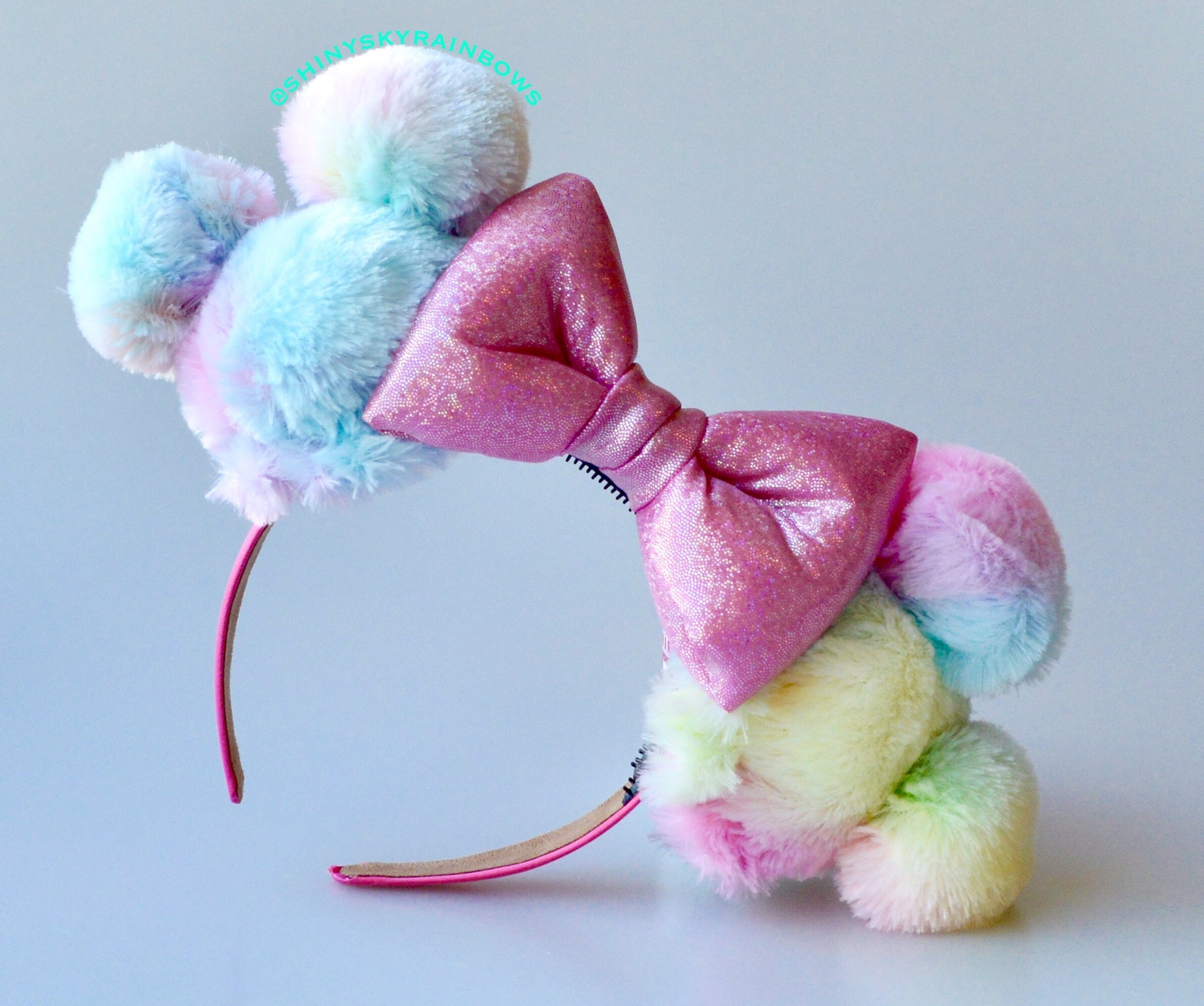 (Coming soon, January 26th at 8pm EST/ 5pm PST *Ship in 3-5 business days)  Rainbow Sherbet Ears / Pink Bow