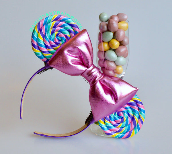 Pastel Rainbow Lollipop Ears (Light Pink Bow)