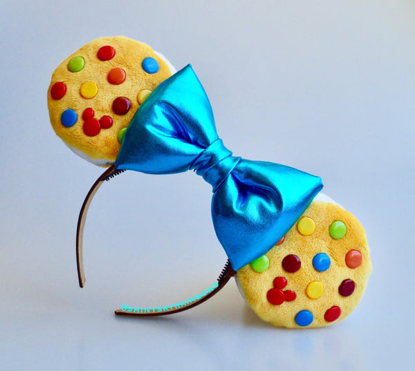 Colorful  Chocolate (buttons) Cookie Sandwich Ears with blue bow, Ice Cream Cookie Ears