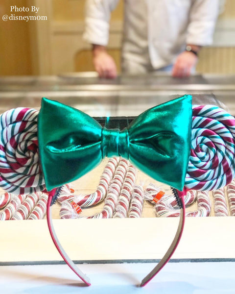 (Restock November 3rd at 8pm EST/ 5pm PST *ship in 5-7 business days) Green bow, Candy Cane Lollipop Ears