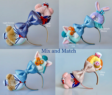 A pair of Mix and Match Sailor bear and friends Doughnut Ears, Please message us your Mix and Match choice after your purchase