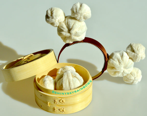 (February 23rd at 8pm EST) No Bow Dim Sum Headband, Mouse Shaped Bao Ears