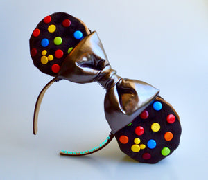 Double Chocolate (buttons) Cookie Sandwich Ears with a Bronze bow, Ice Cream Cookie Ears
