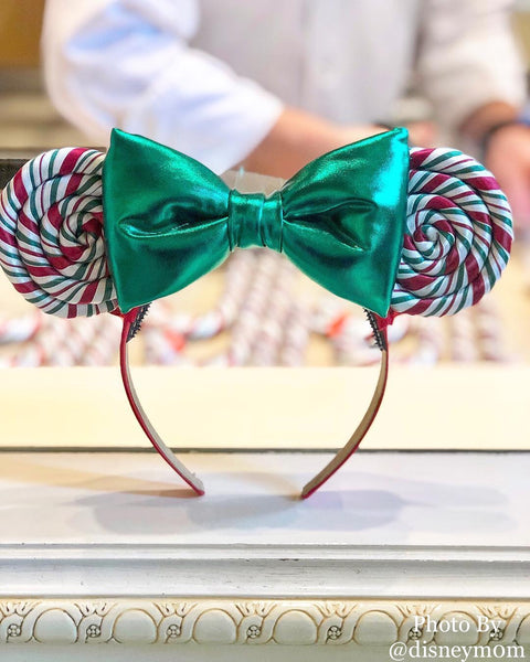 Red bow, Candy Cane Lollipop Ears