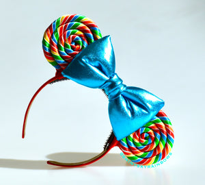 Classic Rainbow Lollipop Ears/ blue bow
