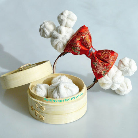 Red Bow Dim Sum Headband, Mouse Shaped Bao Ears