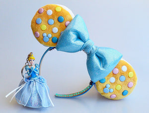 Blue Bow, Colorful Chocolate (buttons) Cookie Sandwich Ears with a light blue bow, Ice Cream Cookie Ears