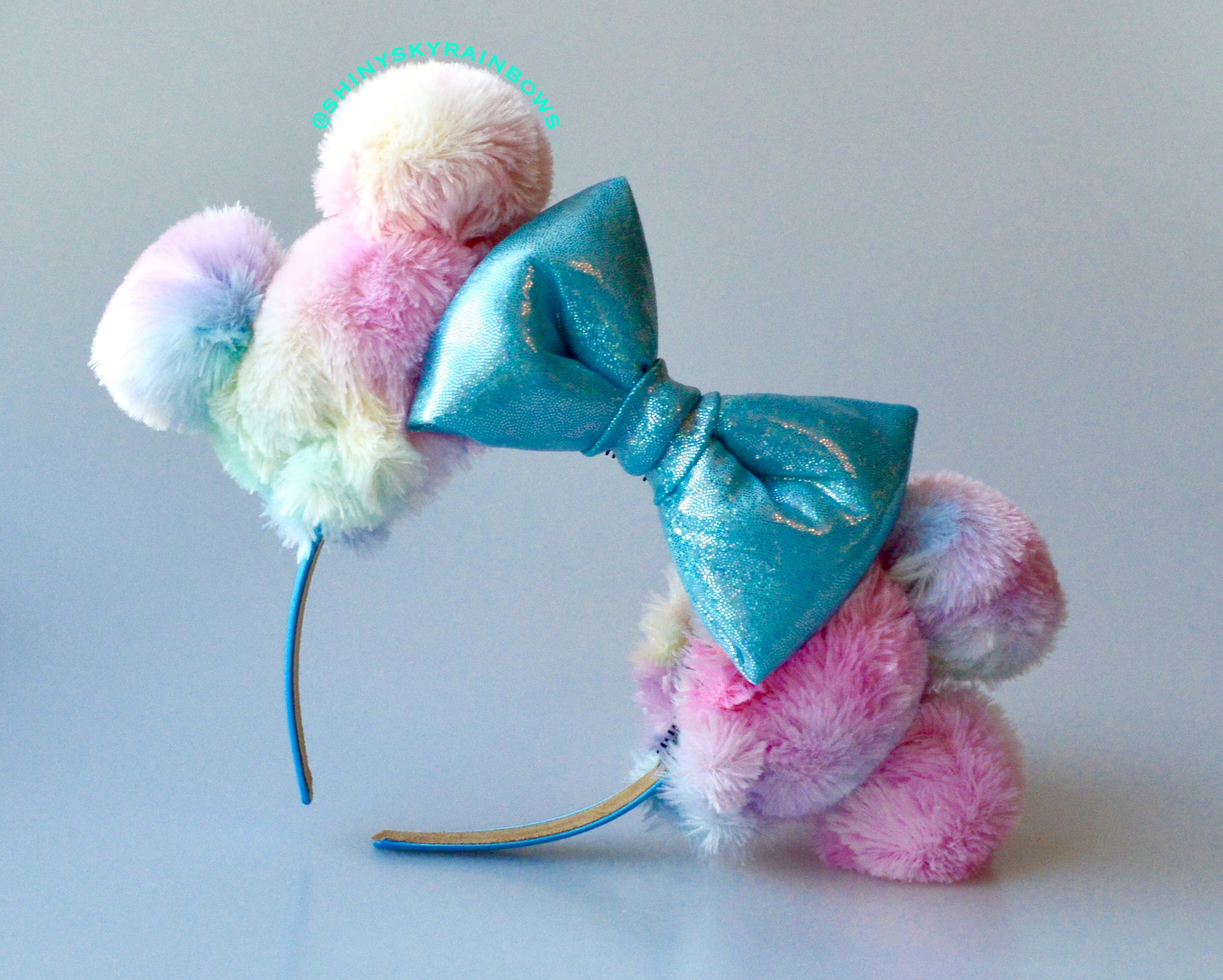 (Restock August 4th at 8pm EST/ 5pm PST) Rainbow Sherbet Ears / Light Blue Bow