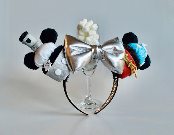 (Restock December 15th at 8pm EST/ 5pm PST *Ship in 3-5 business days)  Steamboat and Sorcerer Cupcake ears / Silver Bow