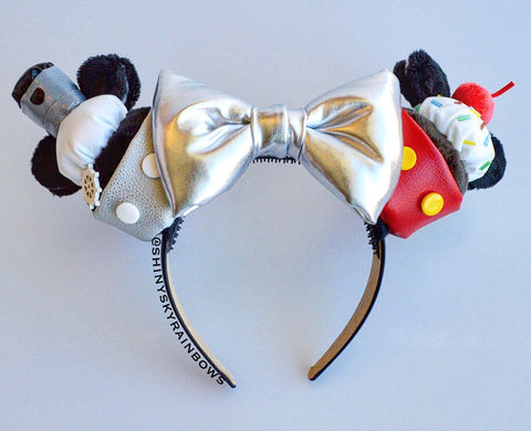 Steamboat and Sprinkles (cherry) Cupcake ears / Silver Bow