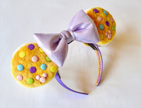 Sparkly Light purple bow, Chocolate (buttons) Cookie Sandwich Ears, Ice Cream Cookie Ears