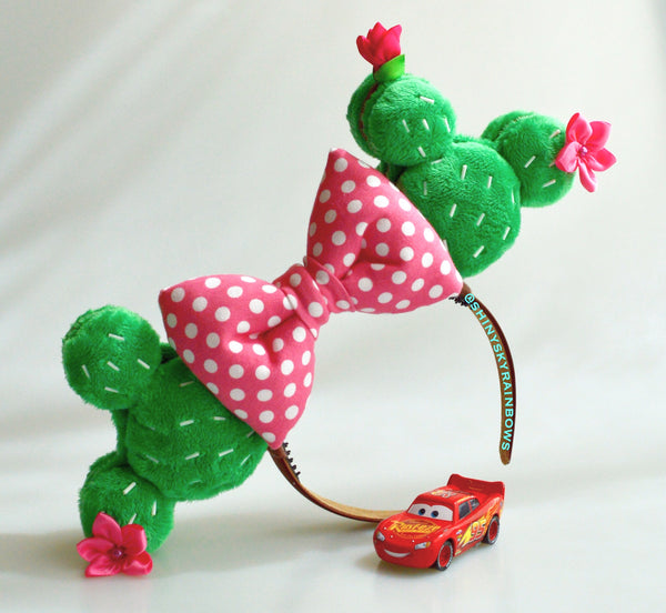 (Coming soon February 23rd at 8pm EST/ 5pm PST ) Cactus Macaron Ears / Polka dot pink bow
