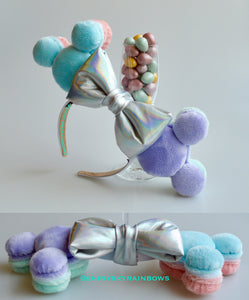 Colorful Pastel Macaron Ears, Light Purple and Light Blue (Front)
