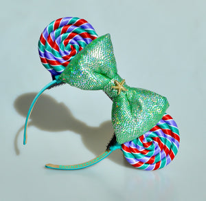 Mermaid Lollipop Ears (Green Bow)