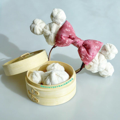 (Coming soon, February 23rd at 8pm EST/ 5pm PST)  Pink Bow Dim Sum Headband, Mouse Shaped Bao Ears with a Pink flower bow