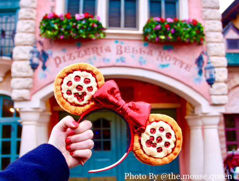 Pizza Ears with a red bow