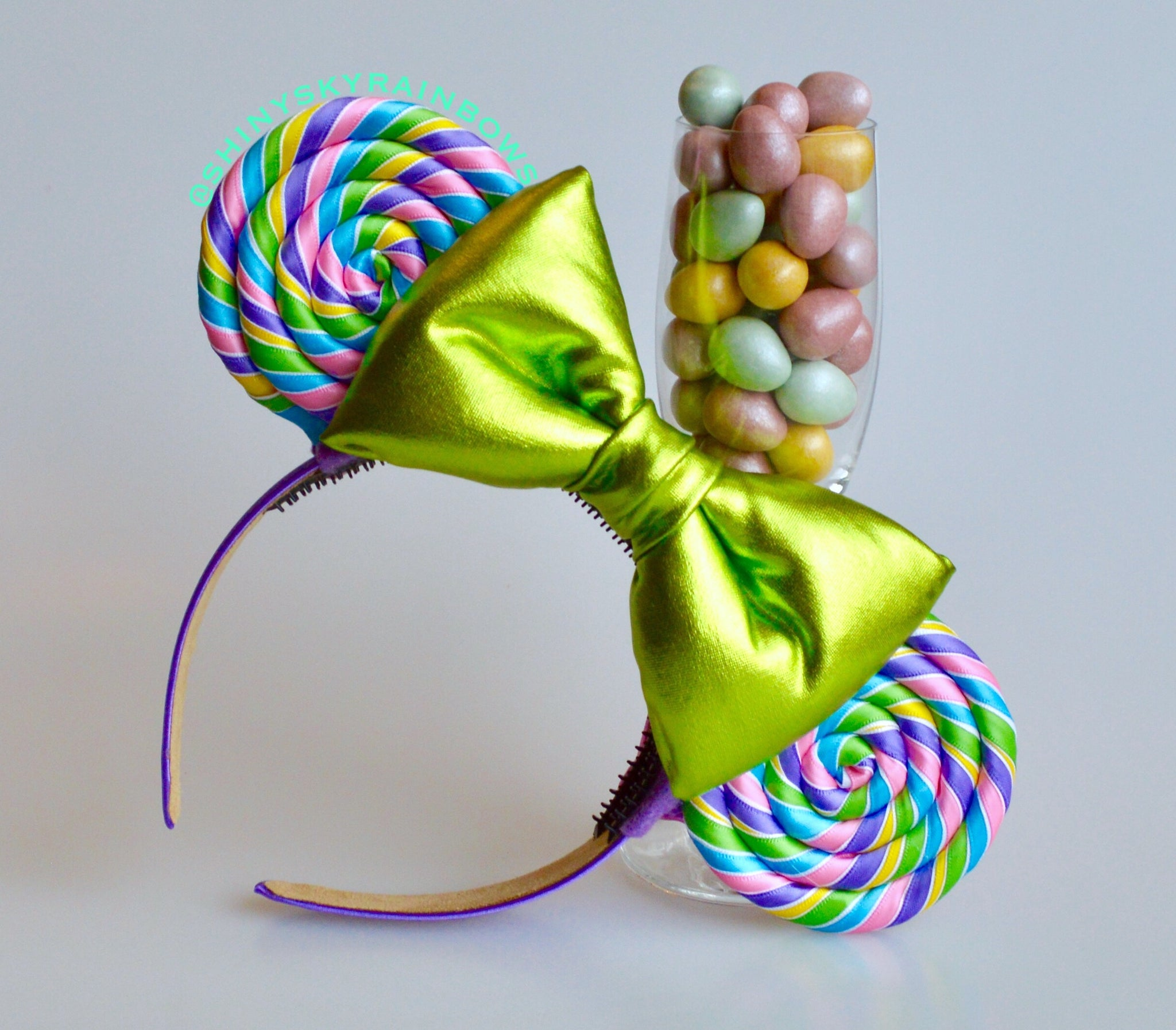 Pastel Rainbow Lollipop Ears (Light Green Bow)