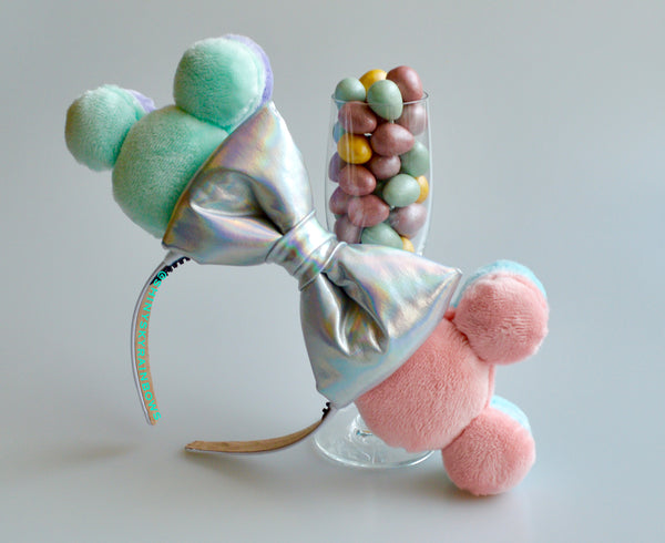 Colorful Pastel Macaron Ears, Pastel Green and Pink (Front)