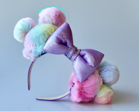 (Coming soon, January 26th at 8pm EST/ 5pm PST *Ship in 3-5 business days)  Rainbow Sherbet Ears / Light Purple Bow