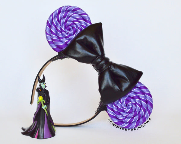 (Restock August 11th at 8pm EST/ 5pm PST) Black bow, Purple Lollipop Ears