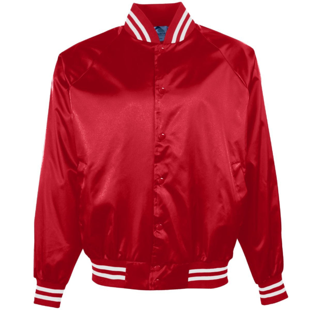 Augusta Sportswear Youth Satin Baseball Jacket Striped Trim 3611 C