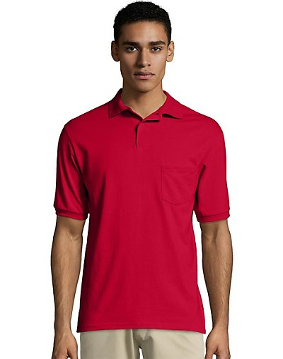 Hanes Men's Cotton-Blend EcoSmart Jersey Polo with Pocket - 504