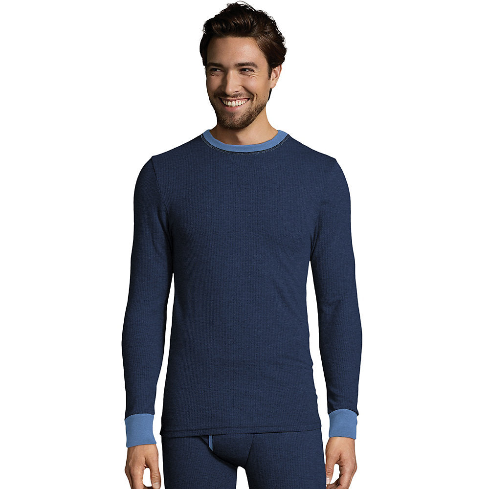 Hanes Men's 2-color Fusion Knit Thermal Crewneck - 123301