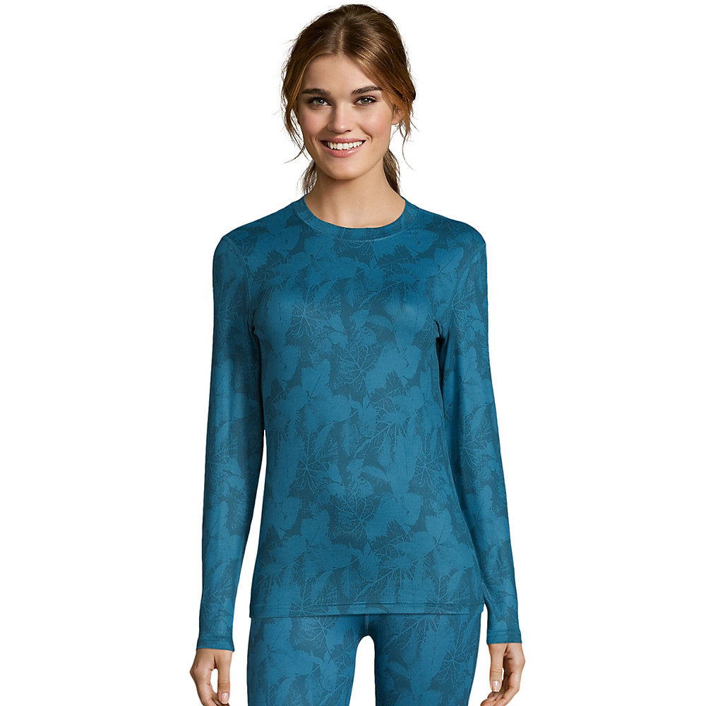 Hanes Women's Print 4-Way Stretch Thermal Crewneck - 125605