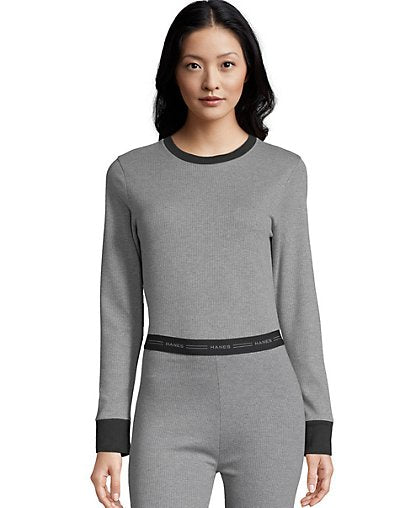 Hanes Women's Solid Color Fusion Crewneck