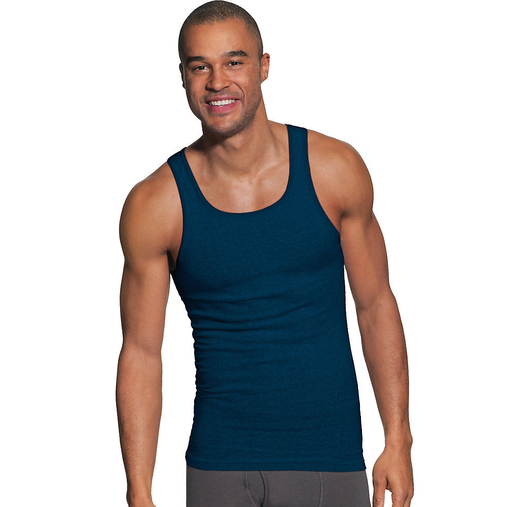 Hanes Men's FreshIQ ComfortSoft Dyed Assorted Colors Tank Undershirt 2XL 4-Pack - 392DX4