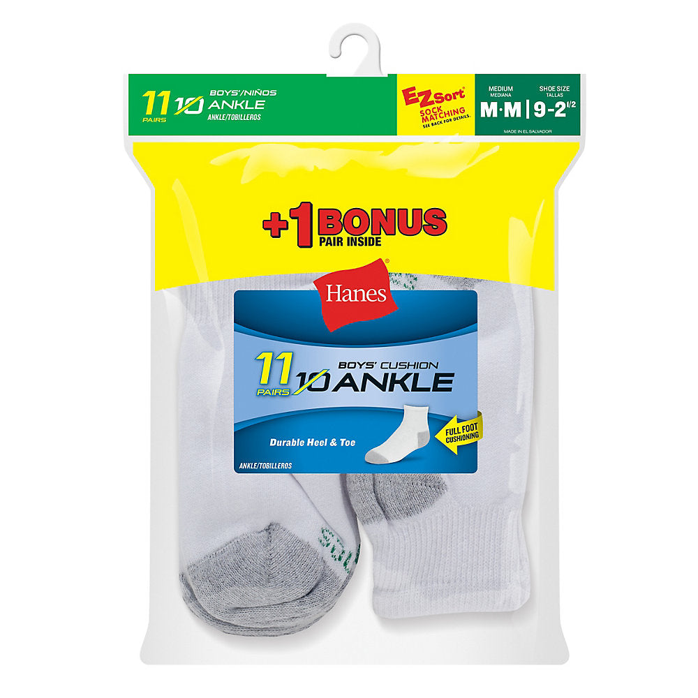 Hanes EZ-Sort Boys' Ankle Socks 11-Pack (Includes 1 Free Bonus Pair) - 422/11