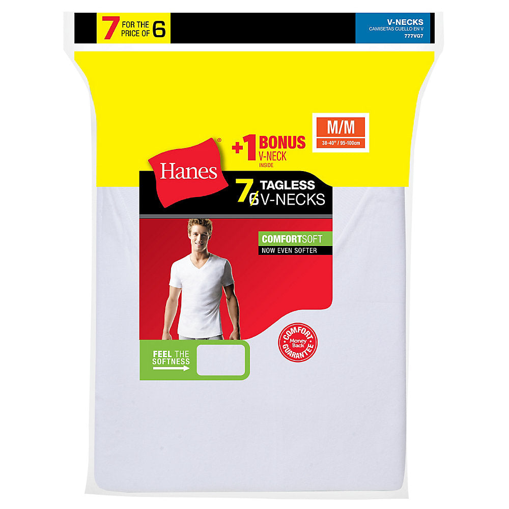 Hanes Men's TAGLESS V-Neck Undershirt 7-Pack (Includes 1 Free Bonus V-Neck) - 777VG7