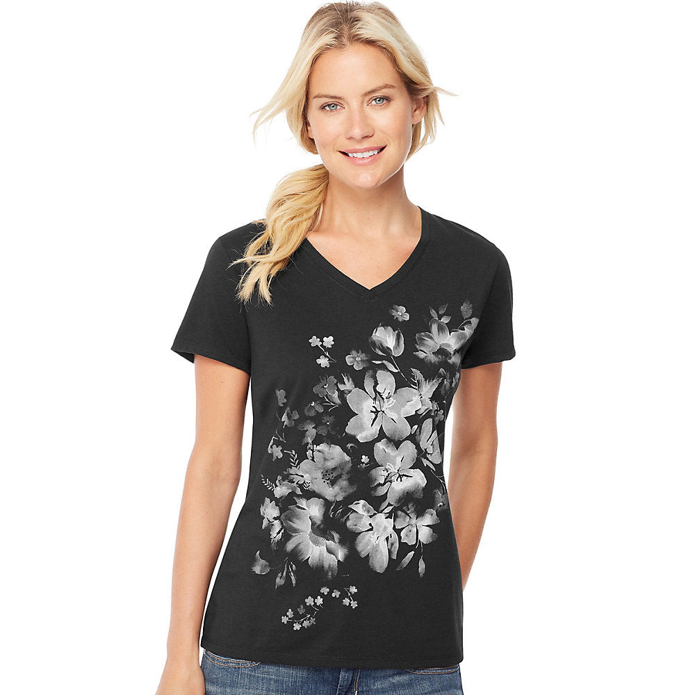 Hanes Women's Bleach Floral Cascade Short-Sleeve V-Neck Graphic Tee - GT9337 Y06598
